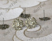 6pcs Antique Brass Earrings Posts With Filigree,Earrings Studs Findings,Earrings Findings