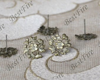 200pcs Antique Brass Earrings Posts With Filigree,Earrings Studs Findings,Earrings Findings