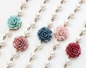 Bridemaids Bracelet Navy Blue Rose Bracelet with pearls Teal Rose Antique Dusty Rose Flower Bracelet Burgundy Deep Red Rose Wedding Jewelry