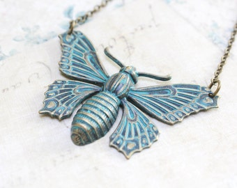 Big Butterfly Necklace Insect Pendant Necklace Rustic Nature Verdigris Patina Wings Long Chain Teal Rainforest Nature Lover