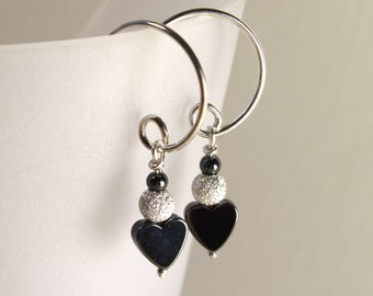Tiny Hematite Heart Earrings with Sparkling Sterling Silver, Gemstone Jewelry
