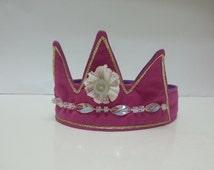 Princess Crown, Fuchsia Crown, Fabric Crown, Princess Costume, Pink, Bling Crown