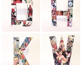 Comic Book Letters, Decoupage Comics, Custom Name, Custom Made 6 Inch, Pick 4 Letters