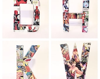 Comic Book Letters, Decoupage Comics, Custom Name, Custom Made 6 Inch, Pick 4 Letters