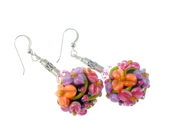 Black Floral Lampwork Glass Bead Earrings, Peach Pink Lavender Flower Earrings, Statement Earrings, Dangle Drop Earrings, Lampwork Jewelry