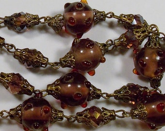 Vintage Reddish Purple Bumpy Lampwork Glass & Crystal Bead Necklace