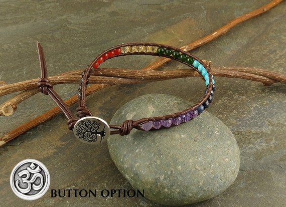 Chakra Balancing Leather Wrapped Bracelet