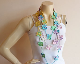 Spring Crochet Scarf-Flower Necklace Scarf-Lariat Scarf-Handmade Long Scarf-Cotton Scarf