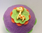 Giraffe Felt Cupcake - Home Decor, Kids Room, Safari Party, Baby Shower, Nursery, Pin Cushion, Gifts