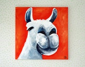 Llama Painting Llama Art 16x16 Canvas Art Lawrence the Llama