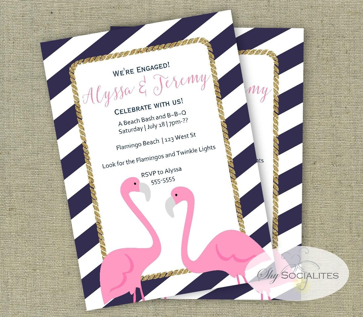 Preppy Flamingo Invitation Pool Party Flamingo Bridal – Engagement Party Invites Australia