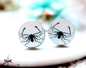 20% off -NEW Unique 3D Embossed  Spider 16mm Round Handmade Wood Cut Cabochon to make Rings, Earrings, Necklaces, Bracelets-(WG-255)