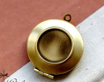 2pcs  Antique Bronze Raw Brass Round Locket With 16mm Setting Charm Pendants-(LOCK-74)