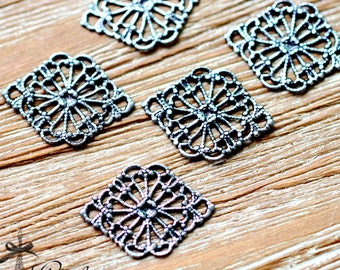 Antiqued Silver  plated RAW brass Filigree  Jewelry Connectors Setting Cab Base Connector Finding  (FILIG-AS-26)