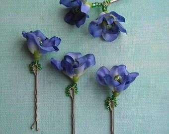 RACHAEL ~  Bridal Set/4 Royal Blue Flower with Beading Hair Bobbies