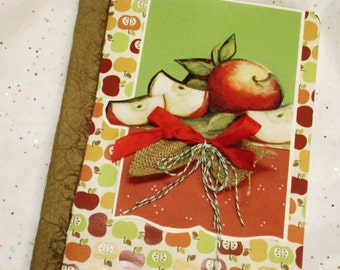 apple paper covered composition blank journal notebook planner scrapbook smash book apples fruit