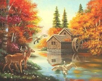 Mill Creek watermill swans autumn 30x40 original oil painting by RUSTY RUST / D-135