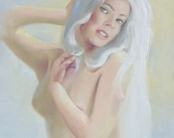 Pinup girl by RUSTY RUST 30x24 original oils on canvas painting / 1522