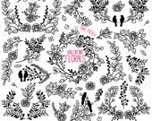 Vintage Valentine's Day Floral Silhouettes Clipart Clip Art, Wedding Laurel Wreath Clip Art Clipart Vectors - Commercial and Personal Use