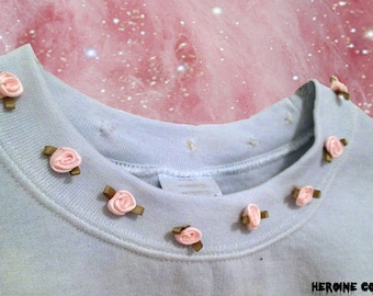 Add  Rosebuds to Any Collar of Purchased Top or Sweatshirt ADD ON ONLY