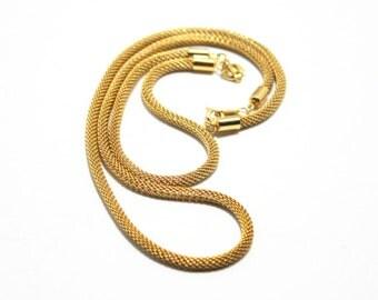 Gold Mesh Set-  Choker- Bracelet-  Korea-  1970s-  Mesh Chain Set- Necklace- Bracelet- 2 Piece Set- Vintage Mesh