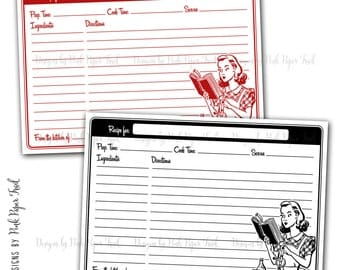 Retro Recipe Card Template - Instant Download - Black and Red - Print Your Own