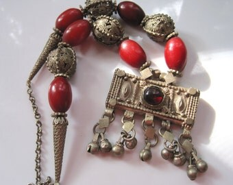Vintage Bedouin Necklace - Yemen Necklace - Rectangular Hirz or Prayer Box Pendant - Bedouin Jewelry - Tribal Jewelry