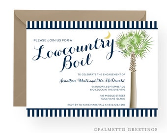South Carolina Palmetto Moon Lowcountry Boil Invitation, Engagement, Wedding Rehearsal Dinner, Birthday, Anniversary Party, Southern Boil