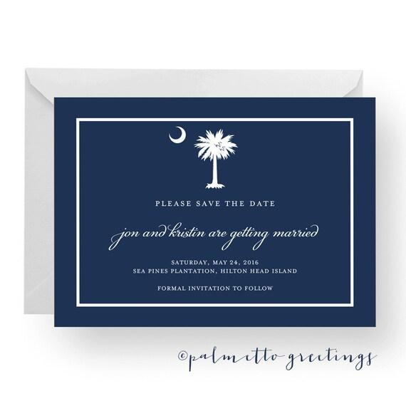 PRINTABLE - Custom South Carolina Palmetto Moon Wedding Engagement / Save the Date Card