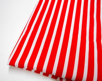 Red & White Striped Fabric, Sewing Material, Home Decor Fabric, Quilting Supplies,  Striped Fabric
