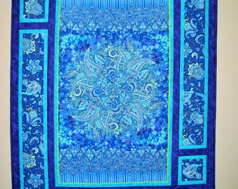 Floral Wall Hanging, Lap quilt, paisleys, Belize from Timeless Treasures, Chong-A Hwang, quilted