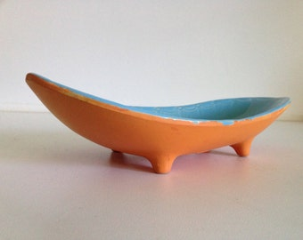 Vintage McCoy Kidney Shape Orange/Blue Compote Dish A5