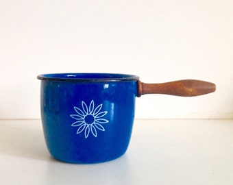 Blue Enamelware Pot with Wooden Handle