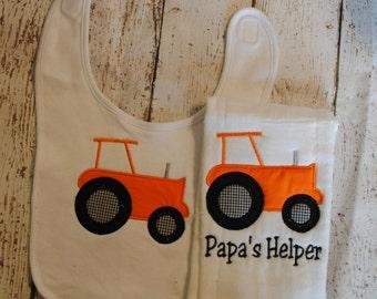 Tractor Bib and Burp Rag Personalized