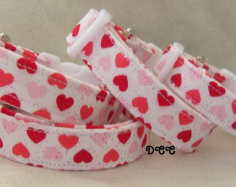 Dog Collar Hearts of Love Red Pink White Choose SIZE  Adjustable Dog Collar with D Ring Everyday Valentine's Day