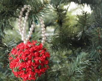50% off Sale! Red Rose Christmas Ornament, Christmas Ornament, Holiday Decor, Christmas Tree Decorations, Christmas Gift, Secret santa gift
