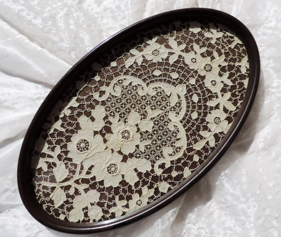 Antique Lace Framed in Vintage Oval Frame Wall Decor Vintage Lacework Floral Design Home Decorating Victorian Shabby Chic