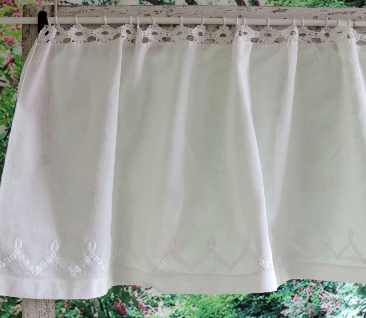 vintage lace curtains valance free shipping crocheted white
