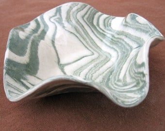 Small Ceramic Bowl - Ceramics and Pottery - Sage Green and White Marbled Stoneware Agateware - Elegant Gift Idea Under 25