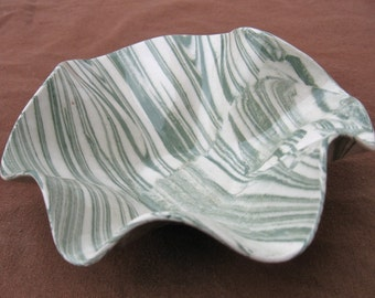 Ceramics and Pottery Agateware Dish- Handmade Green and White Marbled Stoneware Bowl - Small Serving Dish