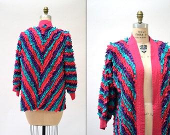 Vintage Fringe Jacket in Blue Pink and Purple// Vintage Art to Wear Cotton Quilted Chevron Fringe Jacket