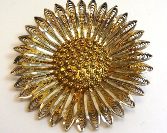 Sparkling vermeil daisy brooch, silver filigree flower brooch with gold plate, Artisan brooch