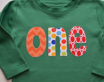 Boys One Shirt, 1st Birthday Tee, Applique First Birthday Tshirt, Orange Red Green, Polka Dots Chevron, Cake Smash Photos 18m Ready to Ship