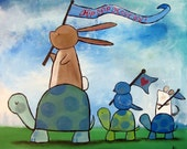 Turtle Rabbit Mouse Parade Original Acrylic Painting, Kids Wall Art, Whimsical Animals, Woodland Nursery Decor, Childrens Art, Baby Shower
