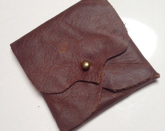 Conker Brown Leather Earphone or Earbud Pouch or Just a Cute Pouch. Antique Brass Coloured Rivet Closure. Eco Friendly.