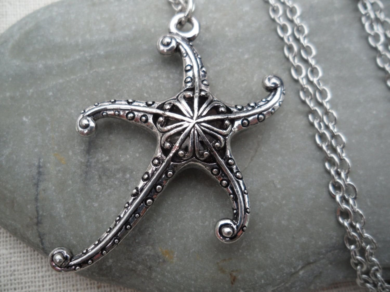 silver starfish necklace whimsical pendant starfish