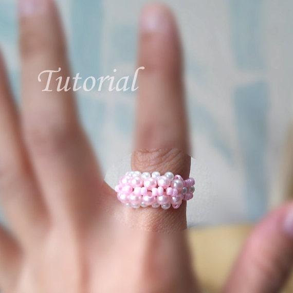 Beading Tutorial - Beaded Pinky Curl Ring Pattern Beaded Ring Tutorial Pearl Ring With Seed Beads Pattern Simple Ring Tutorial Pattern