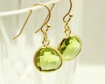 Gold and Peridot Green Framed Earrings - modern trendy simply everyday dangle earrings - wedding bridesmaid jewelry