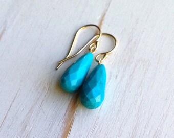 Turquoise Drop Earrings Sleeping Beauty Turquoise Earrings Turquoise Jewelry