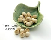 12mm Round Wooden Beads - unfinished natural - 100 pieces